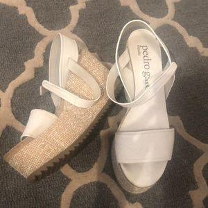 "Pedro Garcia white sandal wedges size 8 ""Dulce"""